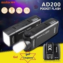 Godox AD200 Pocket Flash Strobe Speedlite 200W med litiumbatteri + X1 utlösare för Sony Canon Nikon-kameror