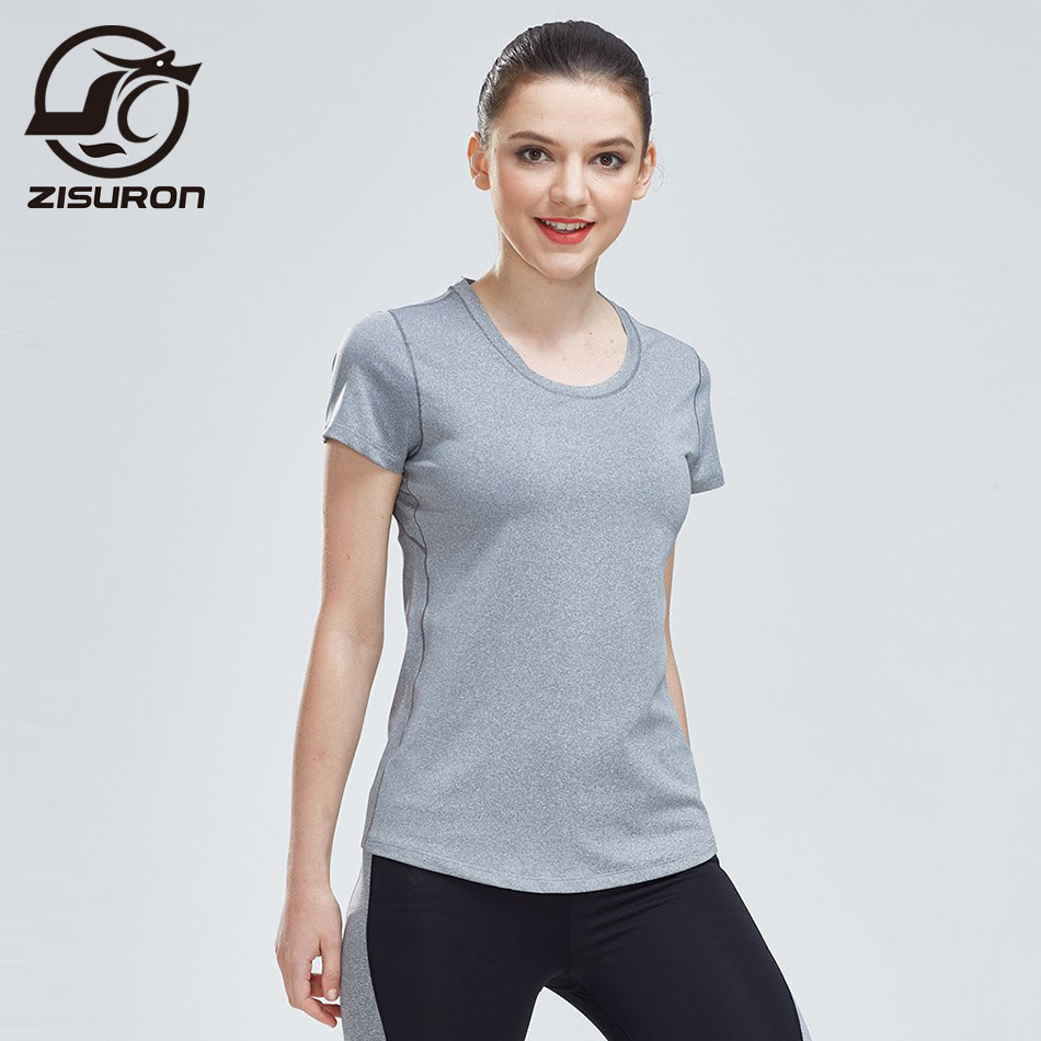 Quick Dry Compression Women Short Sleeve T-Shirts Running Shirt Fitness Tight Tennis Gym yoga shirt with Reflective strip F201