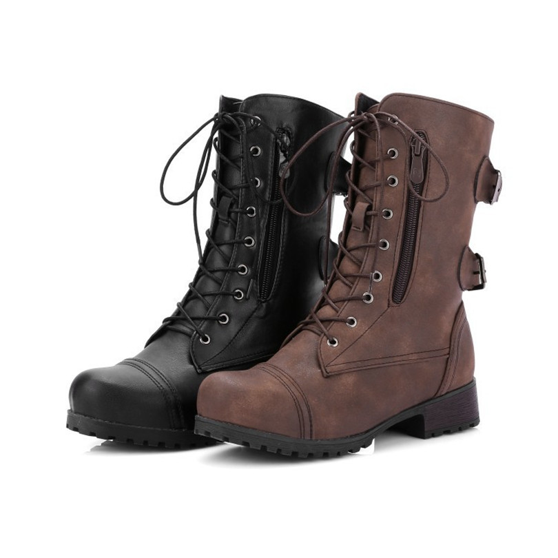 5abd98932e98c LIN KING New Plus Size Retro Women Western Boots Punk Lace Up Buckle  Motorcycle Boots Zipper Mid Calf Boots Ladies Martin Botas -in Mid-Calf  Boots from ...