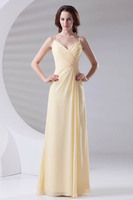 Sexy V Neck Ruched Spaghetti Straps Chiffon Long Bridesmaid Dresses Charming Yellow Zipper Back Dresses for Wedding Party