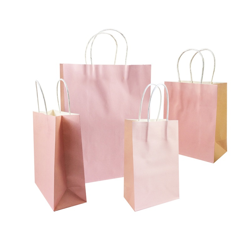 10 Pcs/lot Festival Gift Kraft Bag Soft Pink Shopping Bags DIY Multifunction Recyclable Paper Bag With Handles