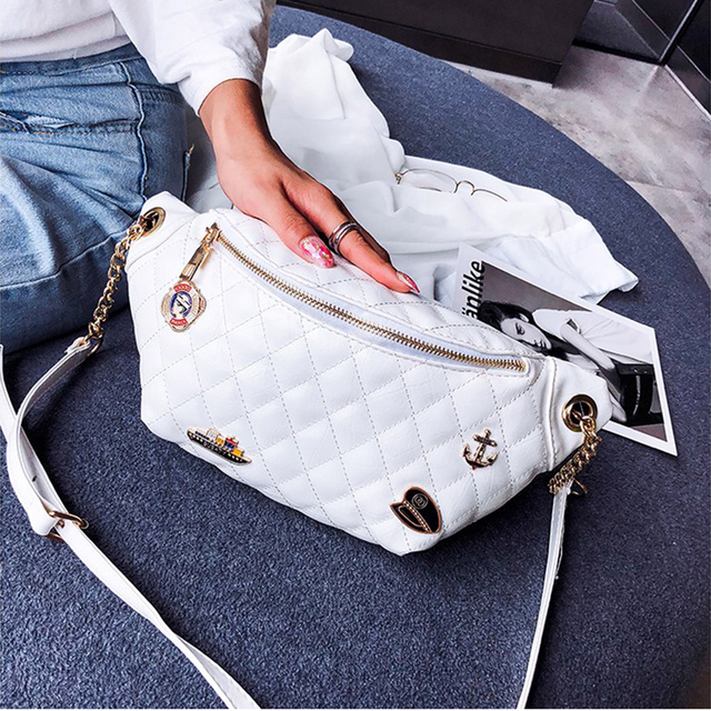 Multifunction Waist Bag Women Fanny Pack Messenger Bag Ladies Crossbody Shoulder PU Leather Chest Belt Bag Bum Bag 6122