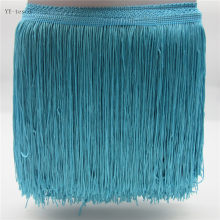 1 Yards 20CM Long Lace Fringe Trim Polyester Tassel sky blue Fringe Trimming For Diy Latin Dress Clothes Accessories Lace Ribbon(China)
