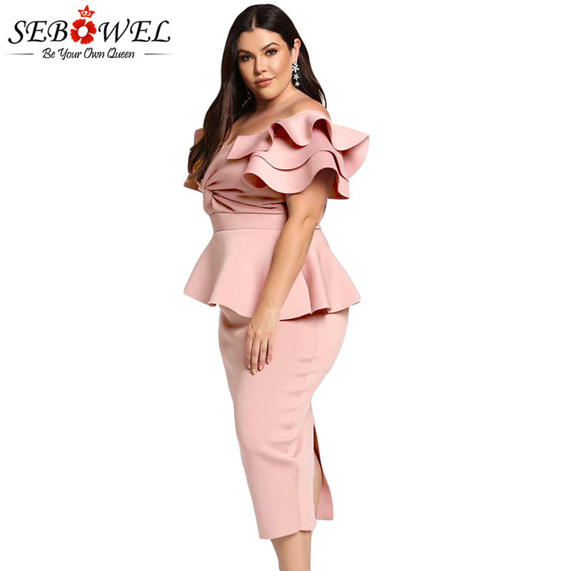 33d980248b680 SEBOWEL Blue Plus Size Tiered Sleeve Party Dress Women Sexy Bodycon Twisted  Peplum Dress Big Size 5XL Elegant Midi Evening Gown