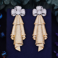 GODKI 71mm Luxury Bowknot Trendy 18K White Gold Plated Zirconia Naija Wedding Party Earring Fashion Jewelry