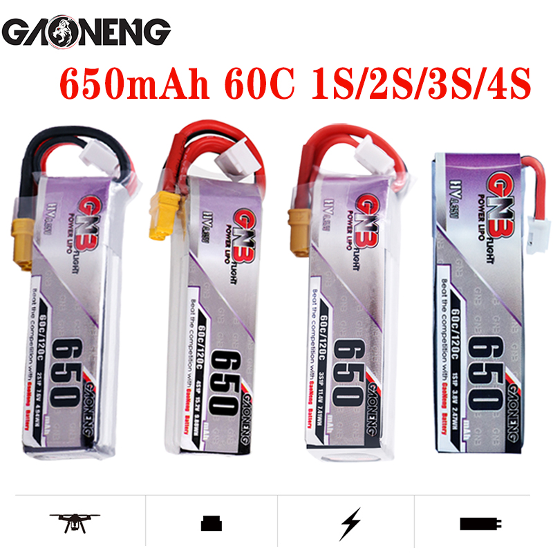 5PCS <font><b>Lipo</b></font> Battery Gaoneng GNB HV <font><b>650mAh</b></font> 60C 1s 2s <font><b>3s</b></font> 4s HV With PH2.0 XT30 Plug For Emax Tinyhawk Kingkong LDARC TINY image