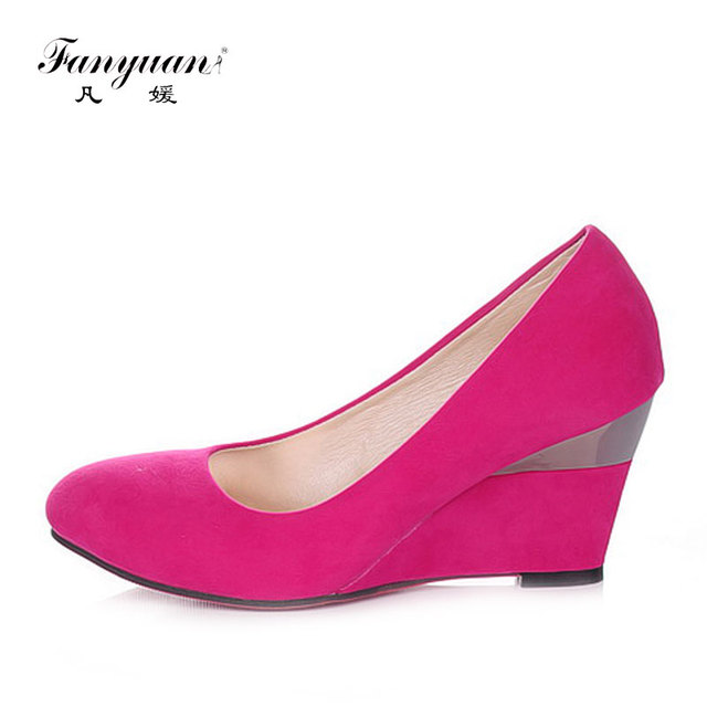 Fanyuan Branded Designers Las High Heels Shoes Flock Round Toe Wedge Women Shallow Female S