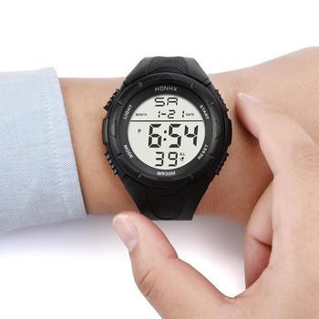 HONHX LED zegarek elektroniczny Mężczyźni Sport zegarki na rękę alarm Watch silikonowe armii wojskowej wodoodporny mężczyzna zegar Relogio tanie i dobre opinie Digital Wristwatches Digital Watch Okrągłe 3Bar 27inch Akrylowe 26 5mm Cyfrowy Prosty Klamra 55mm 15mm Brak No package