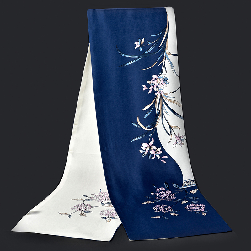 100 Real Silk Scarf Women Luxury Brand 2019 Shawls and Wraps for Ladies Vintage Print Double