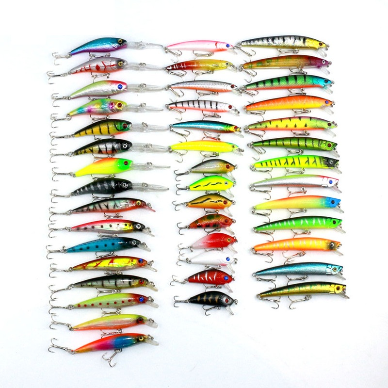 Minnow 43pcs / lot Fly Fishing Lure Set Kina Hårdbete Jia Lure Wobbler Carp 6 Modeller Fiskehantering Partihandel
