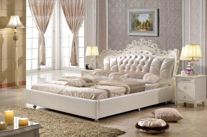 Mobilier de chambre king size synthétique en cuir lit fait ...