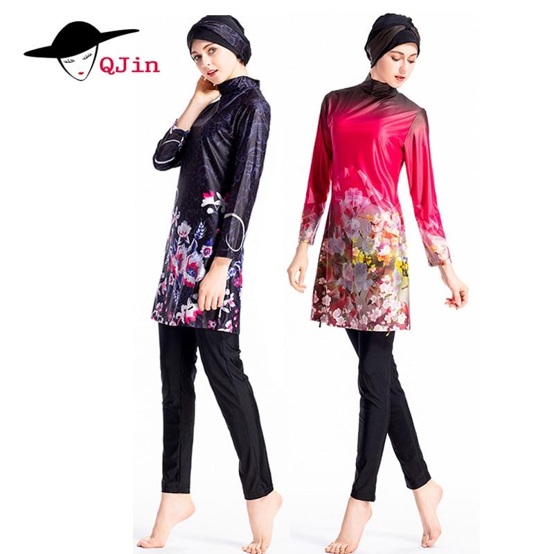 Costume Da Bagno musulmano Modest Vestito Islamico 3 pezzo Collegato Hijab Arabo Costumi Da Bagno Burkinis per i fiori Delle Ragazze Delle Donne di tre pezzi del vestito 2018