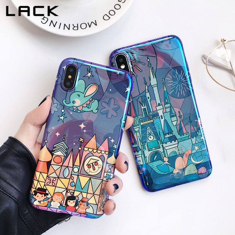 LACK Fireworks Cartoon Phone Case For iphone 7 6 6s 8 Plus Cases For iphone X <font><b>Blu</b></font> <font><b>Ray</b></font> Fairy Tale Castle Soft Back Cover Coque