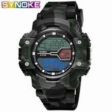 SYNOKE New Arrival Digital Watch Men #8217 s Outdoor Sports Watches Camouflage Military Watches Digital LED Waterproof Wrist Watches cheap Digital Wristwatches Plastic Buckle 5Bar Stop Watch Back Light Shock Resistant Repeater Water Resistant None Alarm Week Display
