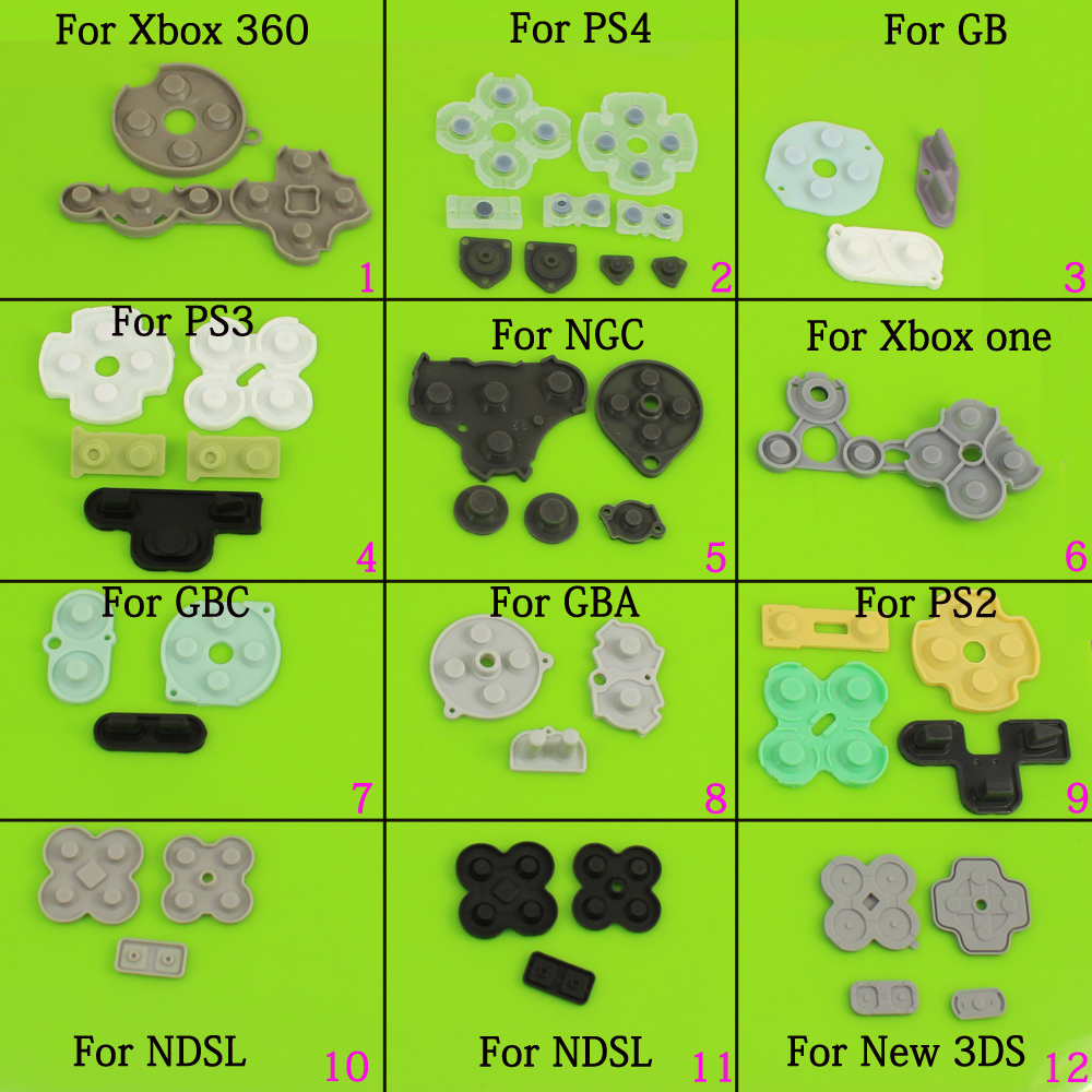 Rubber Conductive Buttons A-B D-pad For Game Boy Classic GB  GBC  GBA Silicone Start Select Keypad  For Ps4 Ps2 NGC NDSL NEW 3DS
