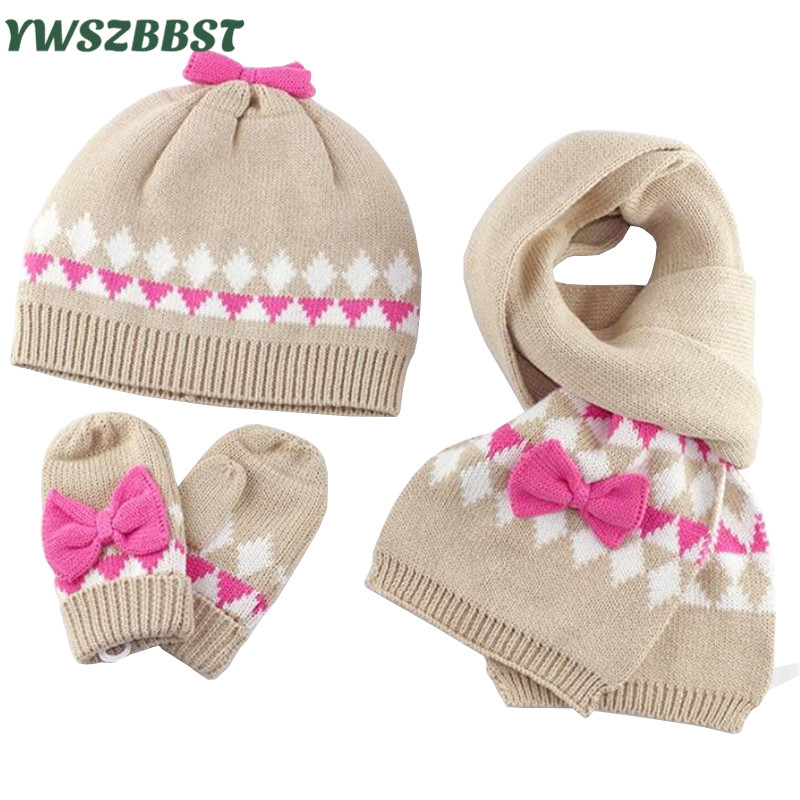 3pcs/set Baby Hat Scarf Gloves with Pink Bowknot Warm Kids Girls Hat Scarf set Autumn Winter Children Caps Scarf Gloves set цена
