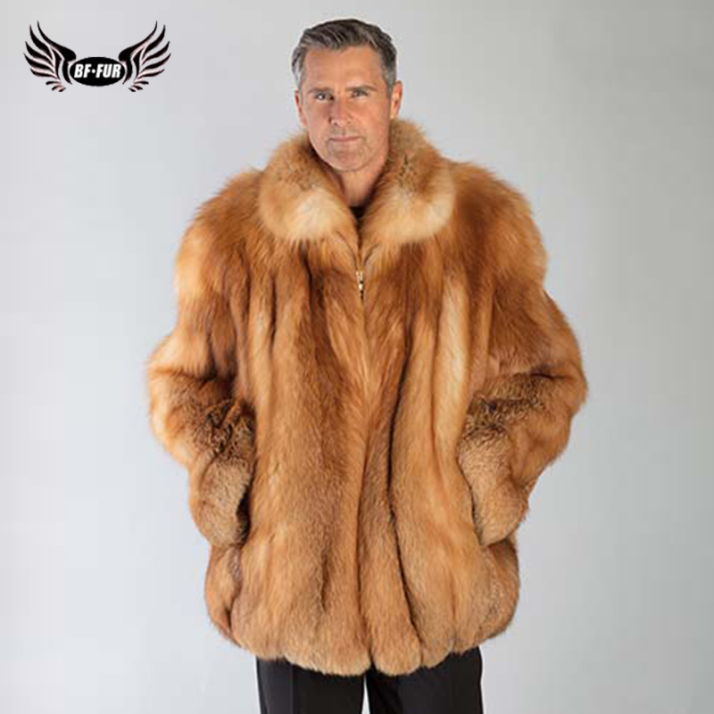 BFFUR Men Clothes 2018 Double faced Real Fox Fur Outerwear Wide waisted Plus Size Full Pelt Park With Natural Fur Top Grade