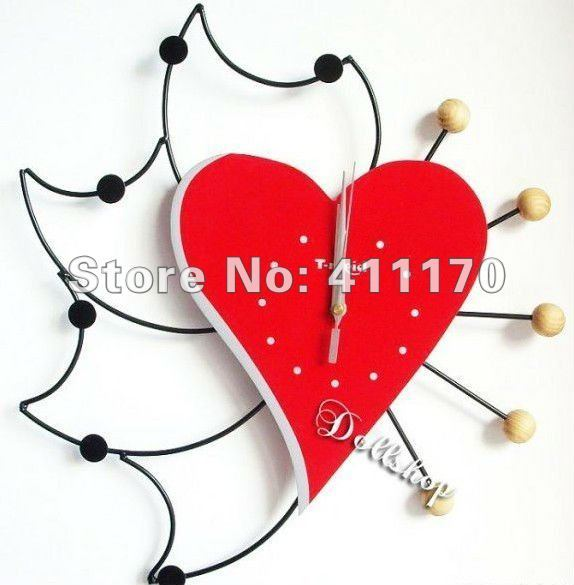 Creative Home Decor,New Modern Interior Design Deco  Wall Clock  Watch ,Love shape Clock,Free shipping