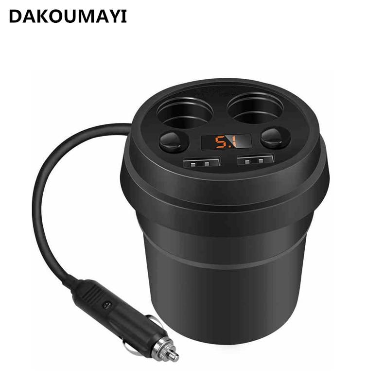 Cup Car Charger 2 USB Display Voltage for lg revere vn150 ux585 Cigarette Lighter Socket Adapter for Subaru Tribeca for NISSAN
