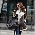 Últimas mulheres da moda casaco de inverno lã couro grosso Super quente casaco fino lazer grandes estaleiros lã de carneiro casaco de médio longo G2196