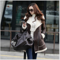 Latest Fashion Women Winter Coat Leather wool Thick Super Warm Coat Slim Leisure Big yards Lambs wool Medium long Coat G2196