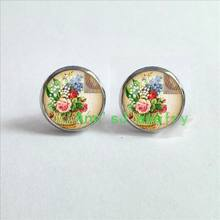 ES-0095 1pair Flower Earrings ephemera eardrops french postcard Earrings jewelry glass stud earrings Cabochon Earrings B1337(China)
