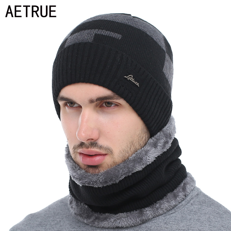 AETRUE Plus Winter Hat Men   Skullies     Beanies   Scarf Knitted Hat Male Gorras Bonnet Warm Wool Thick   Beanies   For Men Women Hats Caps