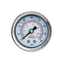YOMI Fuel Pressure Gauge Liquid 0-160 psi Oil Press Gauge Fuel Gauge White Face Universal 1/8 NPT YC100917