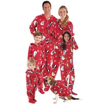 Familia Navidad pijamas Xmas mujer hombre bebé niño con capucha dormir 2017 nueva familia partido imprimir pijamas Set