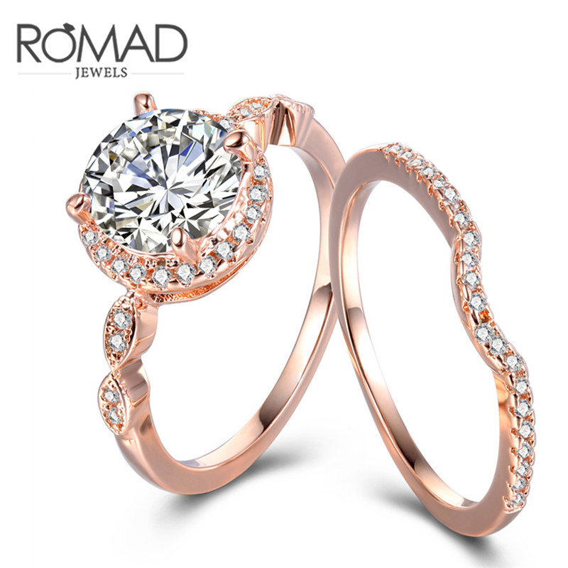 Fashion Jewelry New Rose Gold Color AAA Zircon Finger Ring Set Wedding Gift for Women Ladies Bridal Wholesale Hot Sale