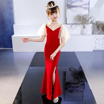 2019 New Red Girls Dress Hosted Catwalk Costumes Fashion Fishtail Split Evening Dress Modis Kids Clothes Vestidos Y1541