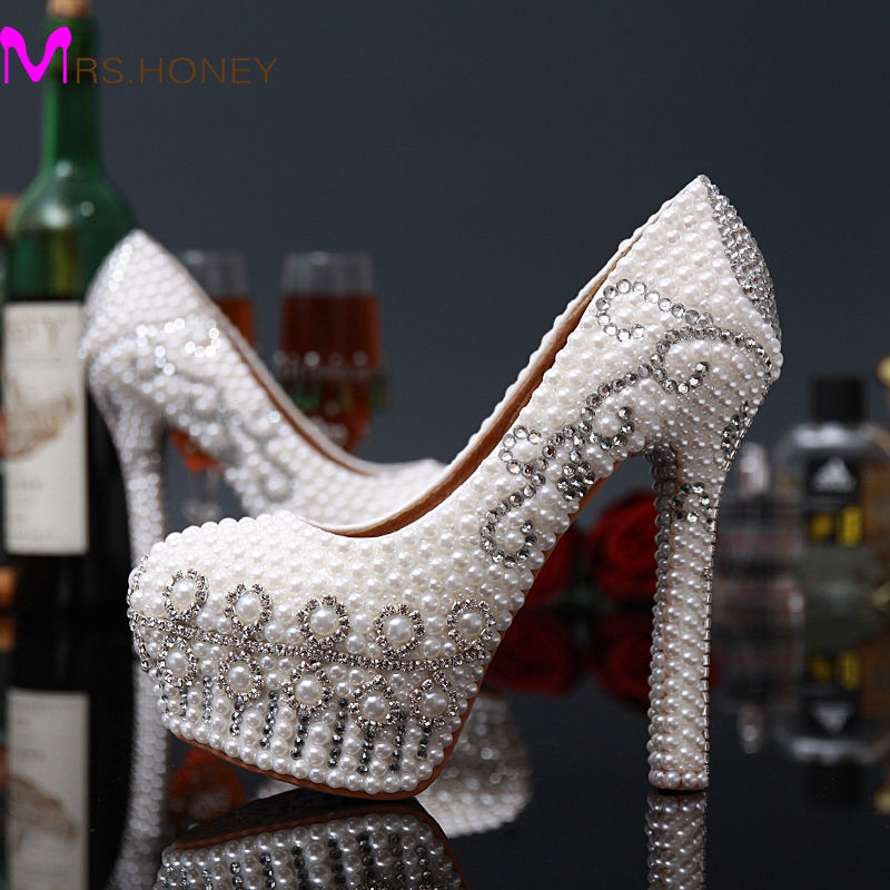 fashion wedding shoes high heel pearls beaded prom