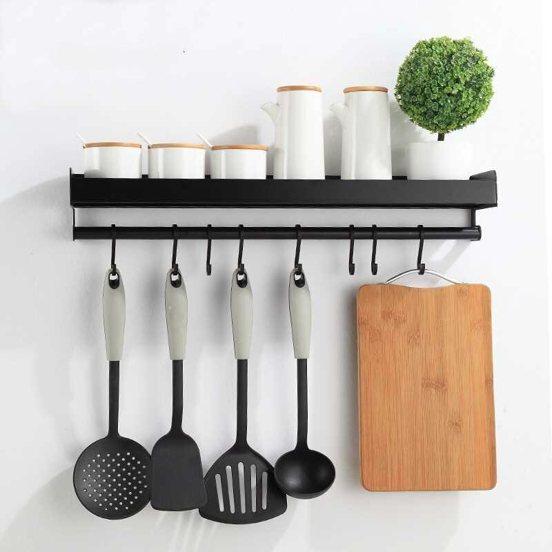 Wall Mounted Kitchen Racks ForCooking  Utensil Tools Knife  Pantry Aluminum Black Shelf Storage Cutlery Holder Lw038352