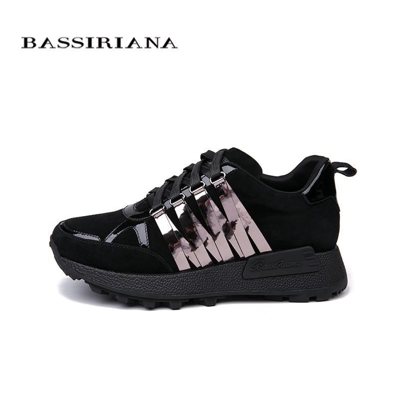 BASSIRIANA 2018 nowe skórzane mieszkania buty damskie rosyjskie rozmiary, buty w stylu casual dla kobiet, darmowa wysyłka rozmiar 35 40 w Damskie buty typu flats od Buty na  Grupa 2