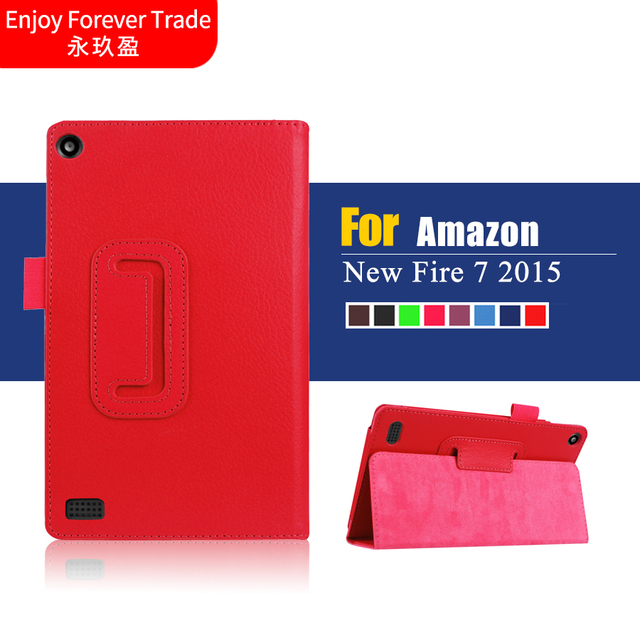 US $8 7 |Hot selling 2015 New Luxury Flip Folio Artificial Leather Case  Stand Cover For Amazon Kindle Fire HD 7 2015 Tablet 1pc-in Tablets &  e-Books