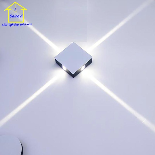 Square four hole LED Cross Star wall light for bar ktv decorative background lamp effect Pathway Sconce Lighting