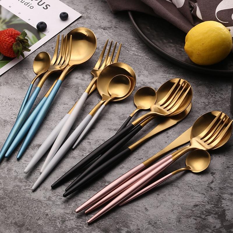"""כלי אוכל סט 304 נירוסטה סכו""""ם סט סטייק סכין מזלג סט כפית קפה כפית סכו""""ם כלי שולחן מטבח כלי כסף"""