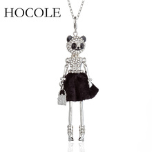 цена на HOCOLE Lovely Full Rhinestone Panda Doll Pendant Necklace for Women Fashion Crystal Accessories Sweater Chain Necklaces Jewelry