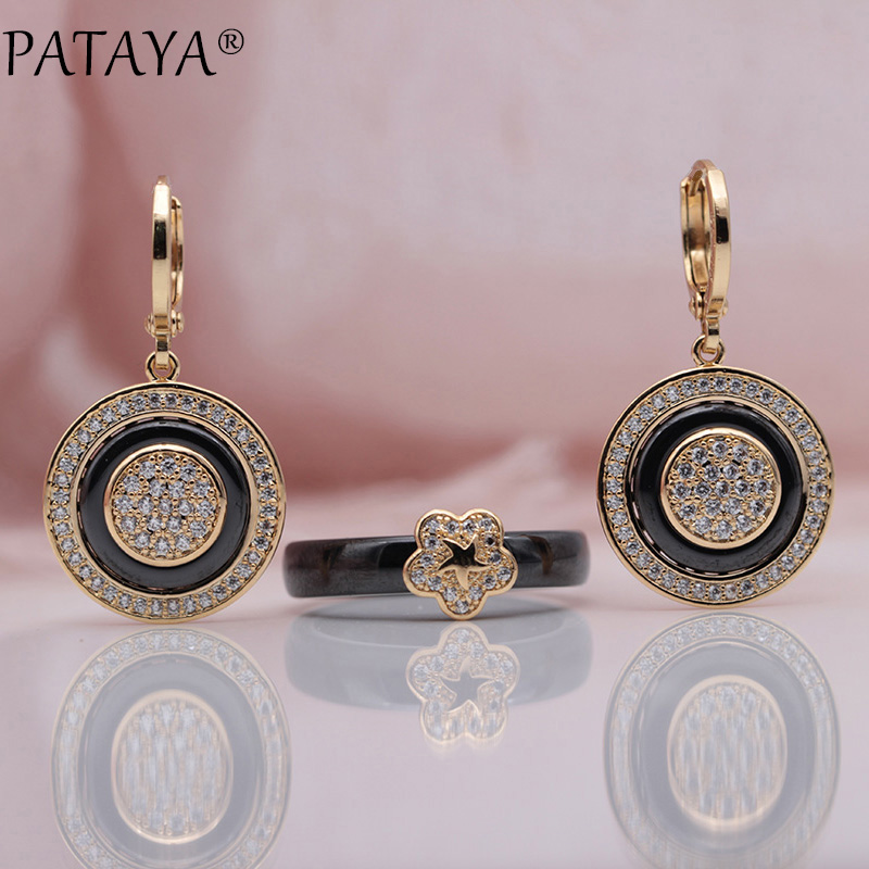 PATAYA New 585 Rose Gold Natural Zircon Black Ceramic Long Dangle Earrings Rings Sets Women Bridal Wedding Party Fine Jewelry sy3220 5lou c6 smc solenoid valve electromagnetic valve pneumatic component air tools sy3000 series