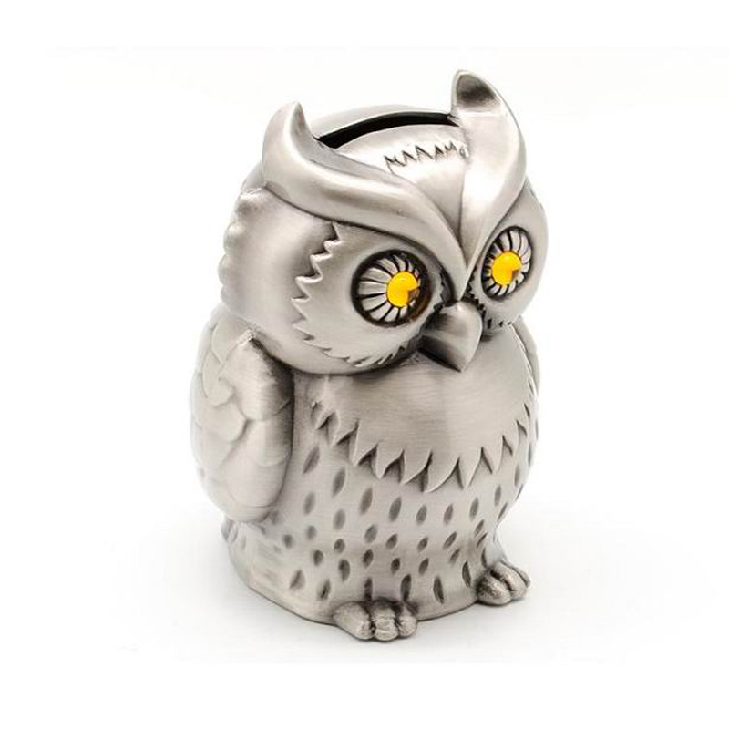Vintage Metal Owl Piggy Bank Nostalgi Cafe Bar Shop Hantverk Heminredning Pengar Spara Box Retro Style Moneybox Creative Gifts
