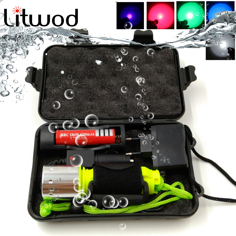 Z20 D503 XM-L2 U3 5 Colors Diving LED Flashlight Torch 2000LM Waterproof Underwater  Light Lamp For Diving Light
