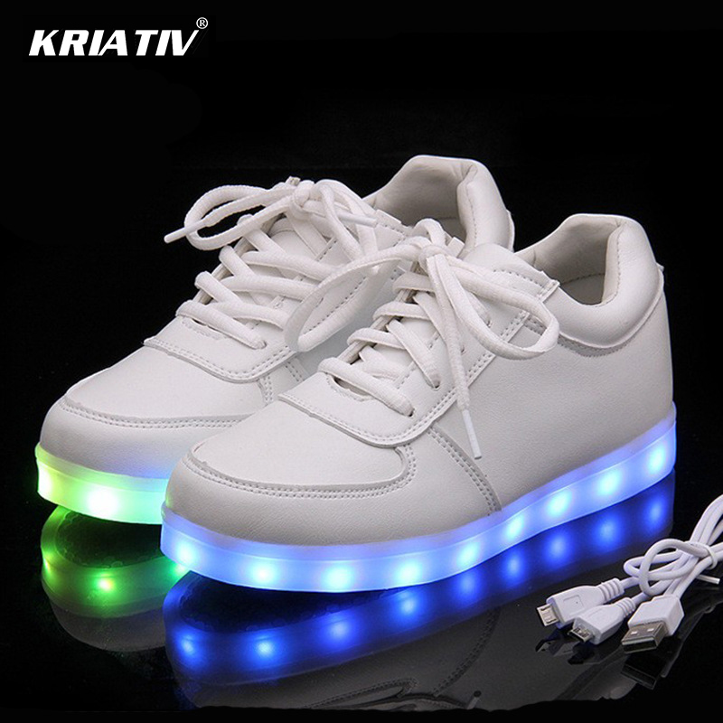 KRIATIV USB Charger Lighted shoes for Boy&Girl glowing sneakers Light Up trainers Kid Casual Luminous Sneakers led slippers porta celular para hacer ejercicio