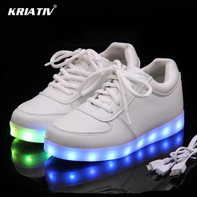 b66d30391 KRIATIV USB Charger Lighted shoes for Boy Girl glowing sneakers Light Up  trainers Kid Casual Luminous Sneakers