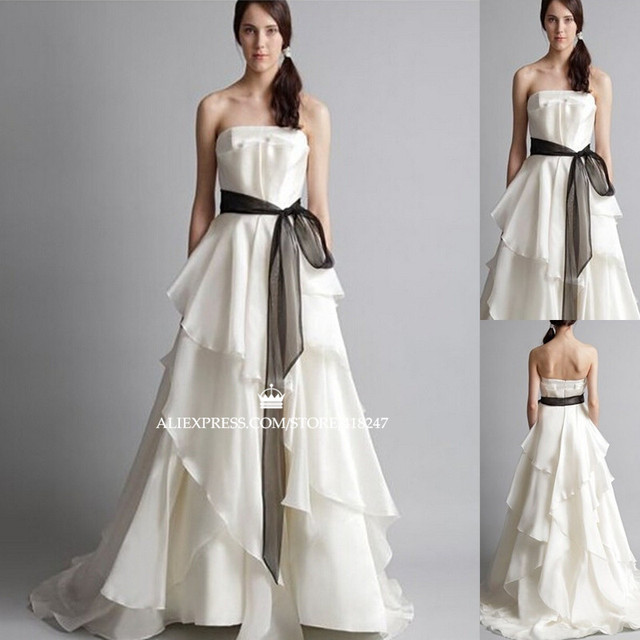 2015 New Free Shipping Chiffon A Line Wedding Dress Sexy Strapless