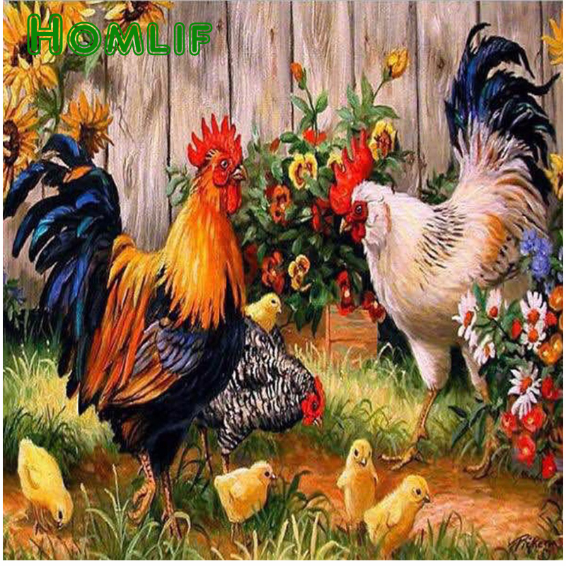 Diamond Painting Chicken DIY 3D Diamond Embroidery Garden Garden Chicken Family Picture Mosaic Drawings Pokemon Needlework