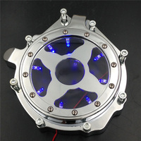 Aftermarket free shipping Motorcycle parts Blue LED Billet Engine Stator cover see through for Honda CBR 1000RR 2004 2005 2006CD