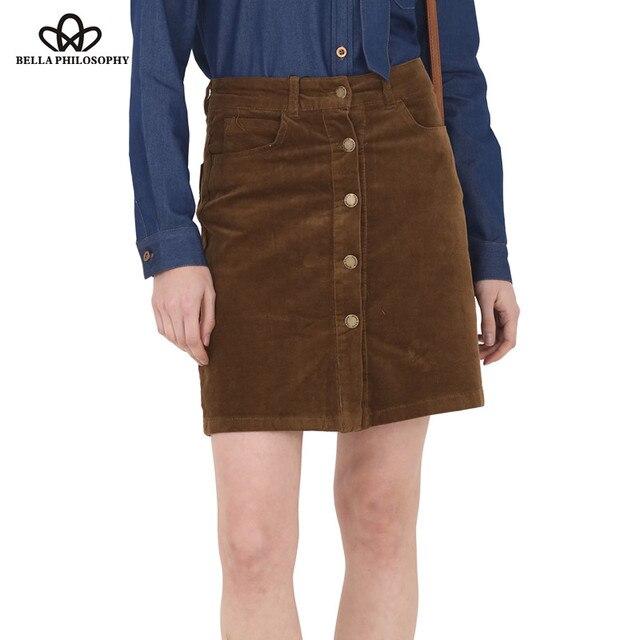 Bella Philosophy 2016 autumn winter new corduroy slim high-waist women khaki A line skirt buttons up