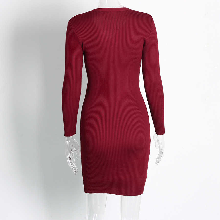 ... Knitted Bodycon Dress Women 2018 Autumn Winter Fashion V Neck Button Long  Sleeve Sweater Dress Women ... 3a3219a44