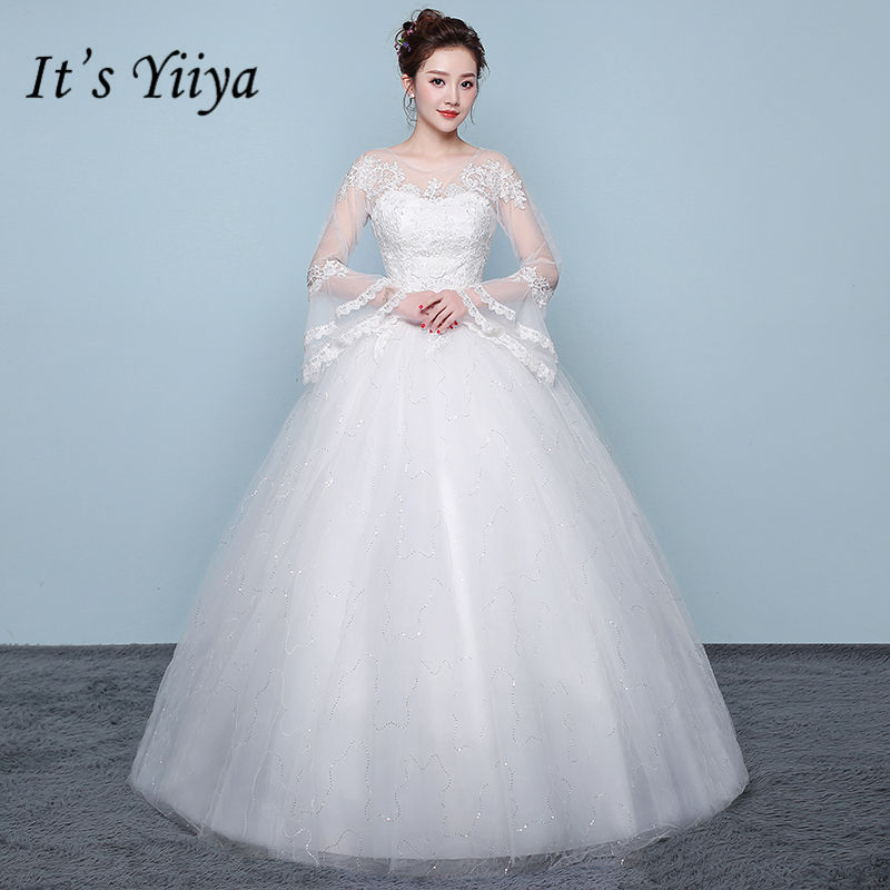 It's YiiYa Wedding Dress Flare Sleeve O-neck Bride Gowns Simple Slim Floor Length Bride Frock Vestidos De Novia XXN200