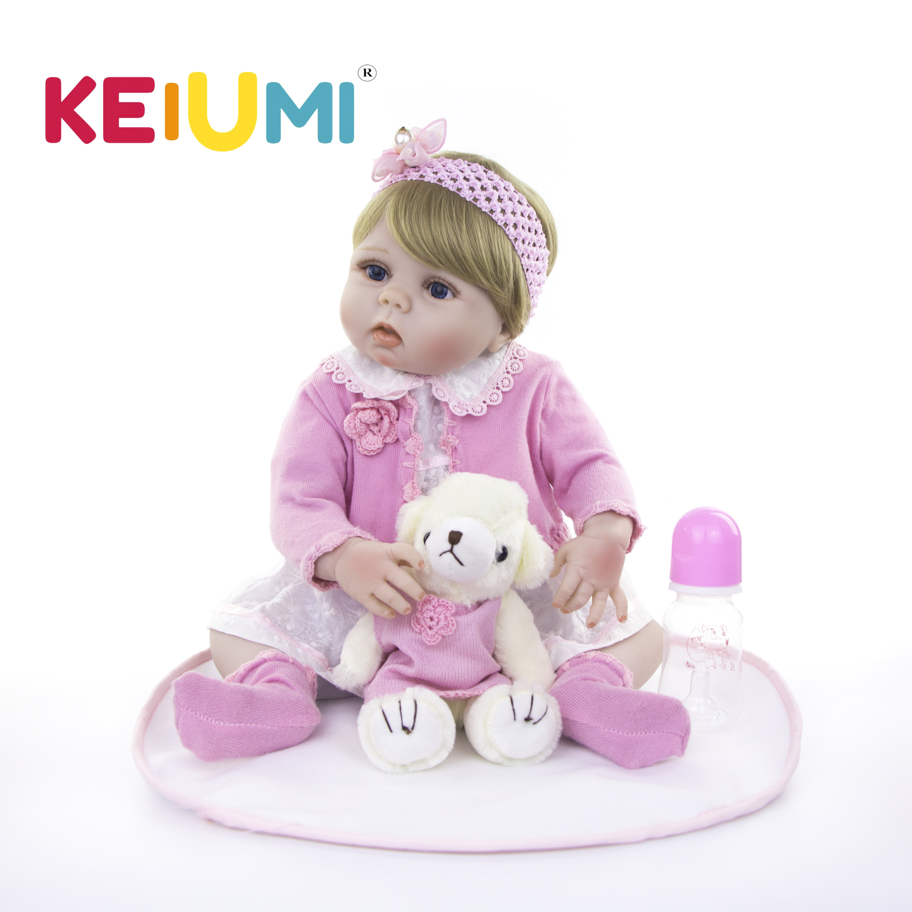 KEIUMI 23 Inch Lifelike Full Body Silicone Reborn Dolls Pure Handmade Girl Baby Toy Doll For Kid Christmas Gift Golden Wig HairKEIUMI 23 Inch Lifelike Full Body Silicone Reborn Dolls Pure Handmade Girl Baby Toy Doll For Kid Christmas Gift Golden Wig Hair